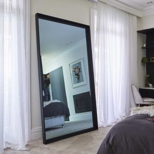 "Vertical Leaner TV Mirror with Matte Black Frame | Includes 49"" TV"