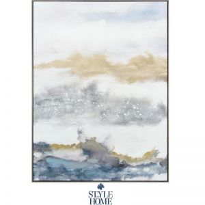 Vibrant Horizons I | Canvas in Antique Silver Frame