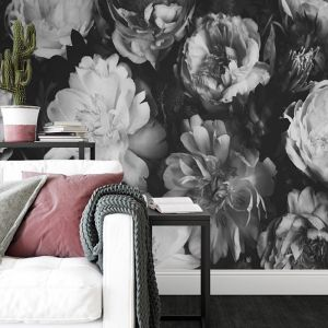 Vintage Bouquet Black and White | Full Wall Mural