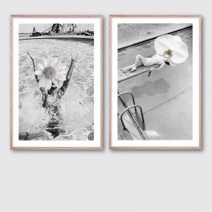 Vintage Daisy & Orchid Pair | Framed Giclee Art Print