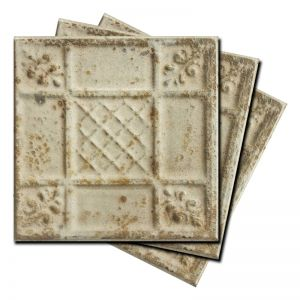 Vintage Design 2 | Pressed Metal Panel | Antique White
