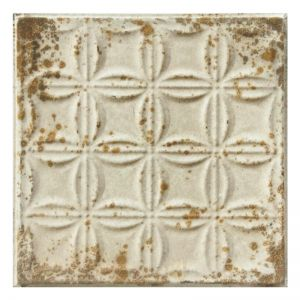 Vintage Design 4   Pressed Metal Panel   Antique White