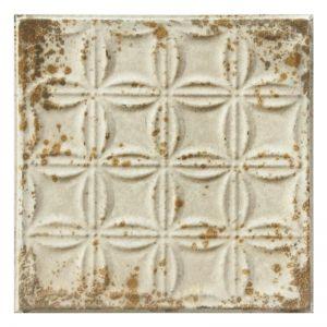 Vintage Design 5   Pressed Metal Panel   Antique White