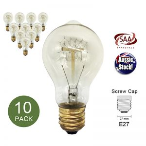 Vintage Industrial Antique Edison Filament Light Bulb Globe E27 40W Shape D - 10 Pack