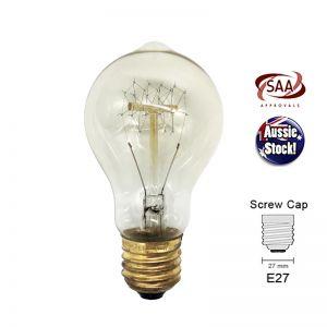 Vintage Industrial Antique Edison Filament Light Bulb | Globe E27 | 40W | Shape D
