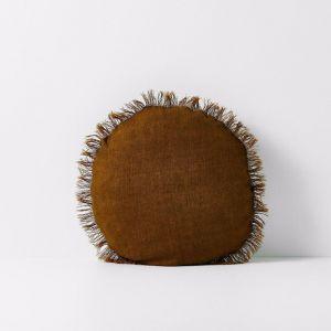 Vintage Linen Fringe 45cm Round Cushion | Tobacco | by Aura Home