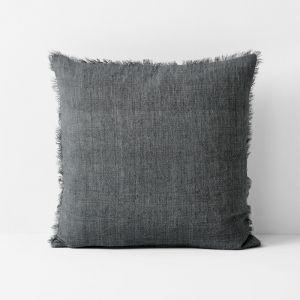 Vintage Linen Fringe Cushion | Charcoal by Aura Home