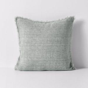 Vintage Linen Fringe Cushion | Limestone | By Aura Home