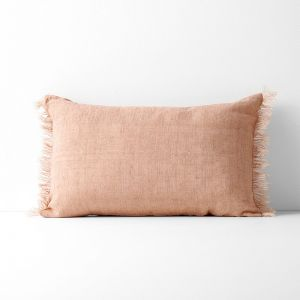 Vintage Linen Fringe Rectangle Cushion | Clay by Aura Home