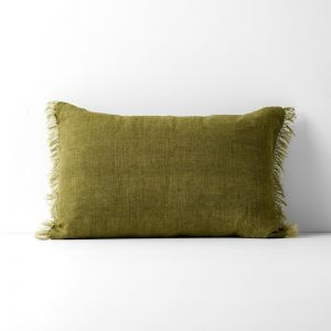 Vintage Linen Fringe Rectangle Cushion | Olive by Aura Home