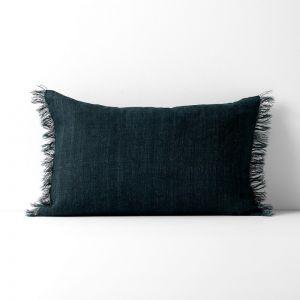 Vintage Linen Fringe Rectangle Cushion | Slate by Aura Home