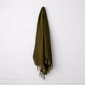 Vintage Linen Fringe Throw | Khaki | by Aura Home