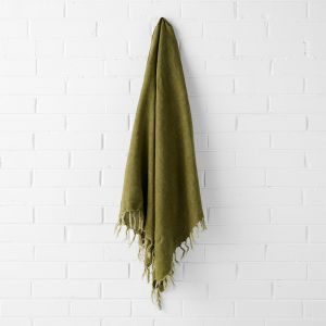 Vintage Linen Fringe Throw | Olive by Aura Home
