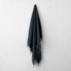 Vintage Linen Fringe Throw | Slate by Aura Home