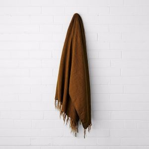 Vintage Linen Fringe Throw | Tobacco | by Aura Home