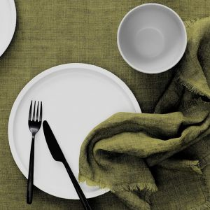 Vintage Linen Tablecloth | Olive by Aura Home