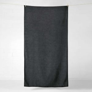 Vintage Linen Throw/Tablecloth | Charcoal by Aura Home