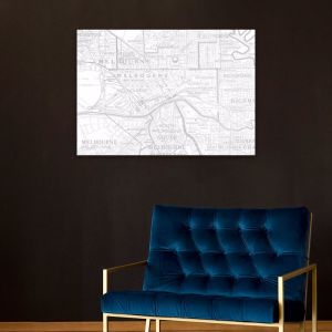 Vintage Melbourne Map - Grey | Stretched Canvas | Printed Panel