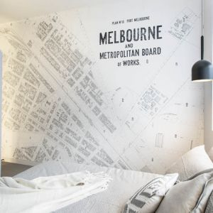 Vintage Port Melbourne Map Wallpaper 300cm x 250cm