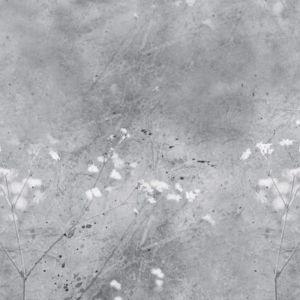 Vintage Summer Floral Mural - Grey