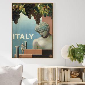 Vintage Visit Italy 1930's   Shadow Framed Wall Art
