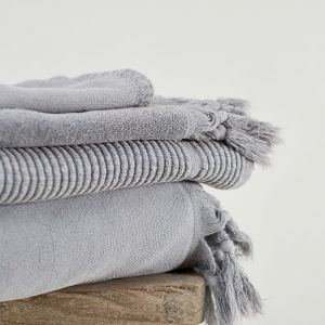 Vintage Wash Cotton Bath Sheet   Pale Grey
