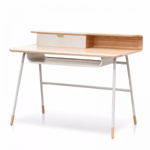 Vito Wooden Home Office Desk | White and Natural