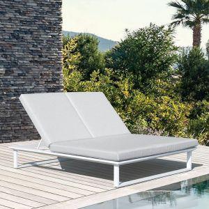 Vivara Double Sunlounger   Matt White with Light Grey Cushion