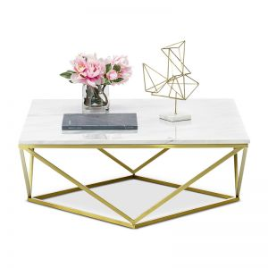 Vivianne Marble Square Geo Coffee Table | White & Brushed Gold