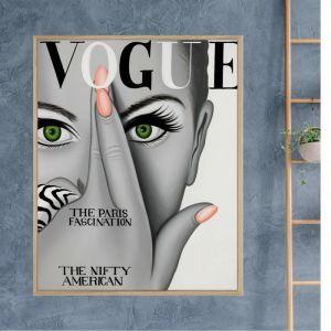 Vogue Crossed Finger | Framed Canvas Print | Colour Clash Studio