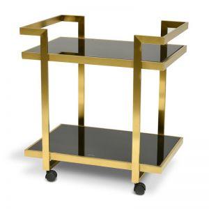 Walter Bar Cart - Tempered Glass | Gold Base | Interior Secrets