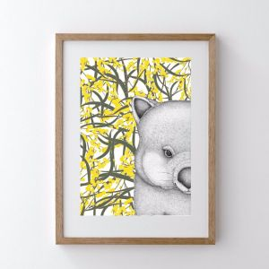 Walter the Wombat with Wattle | Art Print