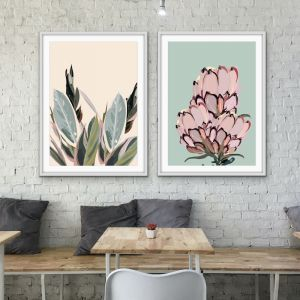 Warm Nights In The Garden | Two Piece Protea Plants Pastel Print Set
