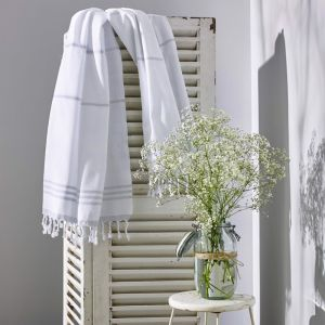 Wategos Turkish Towel | Various Colours | White & Antique Grey
