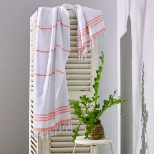 Wategos Turkish Towel | Various Colours | White & Melon