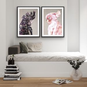 Watercolour Cockatoo Pair On Linen | Two Piece Black and Pink Prints