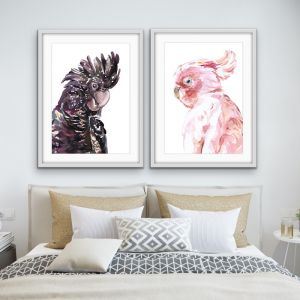 Watercolour Cockatoo Pair | Two Piece Black and Pink Prints