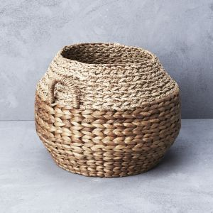 *Waterhyacinth & Mendong Grass Textural Basket with Handles - delivery Oct/Nov 2019