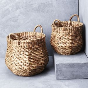 *Waterhyacinth Octagonal Belly Basket with Handles - delivery Oct/Nov 2019