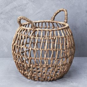 *Waterhyacinth Open Weave Belly Basket with Handles - delivery Oct/Nov 2019