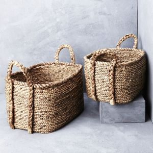 *Waterhyacinth Oval Baskets w Plaited Handles - delivery Oct/Nov 2019