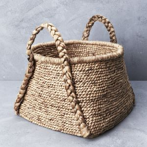 *Waterhyacinth Rounded Square Basket w Plaited Handles - delivery Oct/Nov 2019