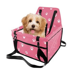 Waterproof Pet Booster Car Seat Breathable Mesh Safety Travel Portable Dog Carrier Bag Pink