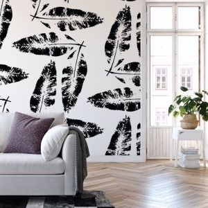 We're Leafing - Garden Love | Eco Wallpaper | Black | Amba Florette