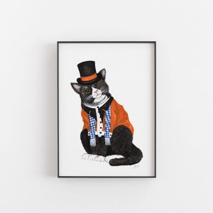 Wesley the Dapper Cat in a Hat Art Print by Pick a Pear | Unframed