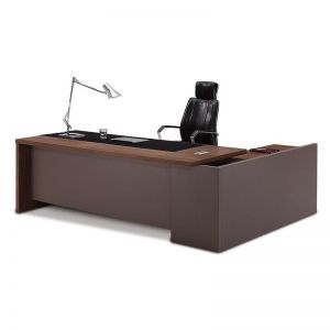 Weston Executive Office Desk + Right Return | Walnut + Grey | Modern Furniture