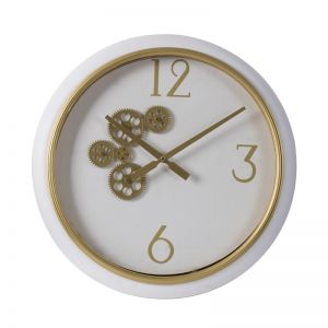 White and Gold Gear Clock