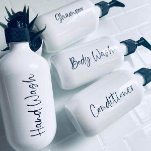 White Bathroom Bottles   Sassy & Arbee