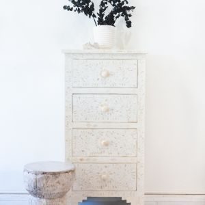 White Bone Inlay Geometric 4 drawer Tallboy
