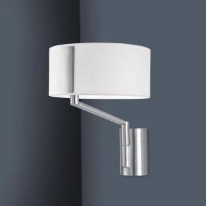 White Fabric Shade Wall Light | by Custom Lighting in Satin Nickel